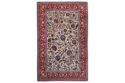 Lot 43-AN EXTREMELY FINE PART SILK ISFAHAN RUG, CENTRAL...