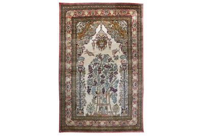Lot 8-AN EXTREMELY FINE SILK QUM PRAYER RUG, CENTRAL...
