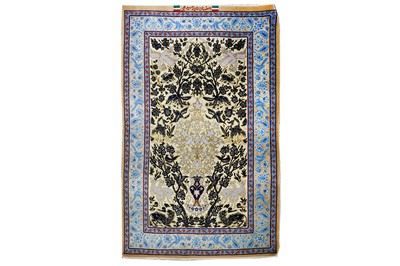 Lot 45-AN EXTREMELY FINE PART SILK SIGNED ISFAHAN RUG,...