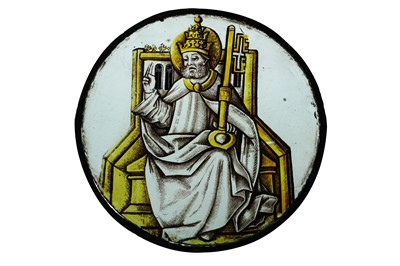 Lot 7 - A RARE 15TH CENTURY STAINED GLASS GLASS...
