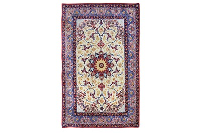 Lot 5-AN EXTREMELY FINE PART SILK ISFAHAN RUG, CENTRAL...
