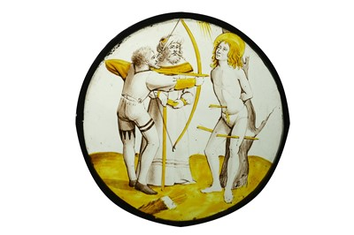 Lot 6 - A 15TH CENTURY STAINED GLASS ROUNDEL DEPICTING...