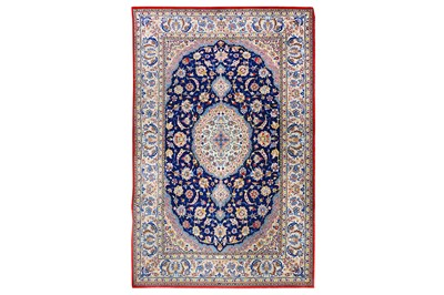 Lot 22-AN EXTREMELY FINE PART SILK ISFAHAN RUG, CENTRAL...
