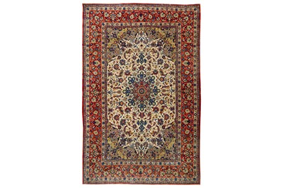 Lot 41-AN EXTREMELY FINE PART SILK ISFAHAN RUG,...