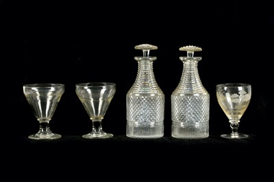 Lot 92A-A pair of late Georgian hobnail cut glass...