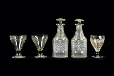 Lot 92A-A pair of late Georgian hobnail cut glass...