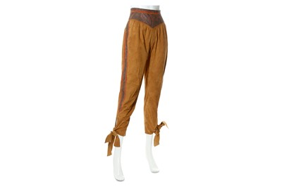 Lot 22-Roberto Cavalli Brown Suede Cropped Trousers - size XS