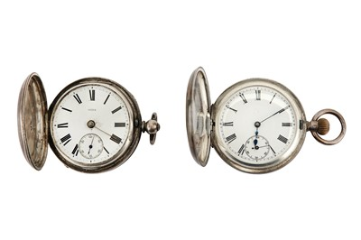 Lot 40-2 POCKET WATCHES A SILVER FULL HUNTER POCKET...