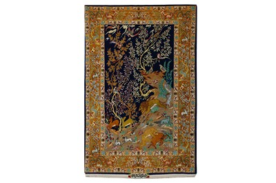 Lot 36-AN EXTREMELY FINE PART SILK SIGNED ISFAHAN RUG,...