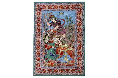 Lot 39-AN EXTREMELY FINE PART SILK ISFAHAN RUG,...