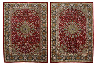 Lot 44-A PAIR OF VERY FINE PART SILK TABRIZ RUGS,...