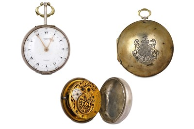 Lot 47-AN ENGLISH PAIR-CASED POCKET WATCH ENGRAVED WITH...