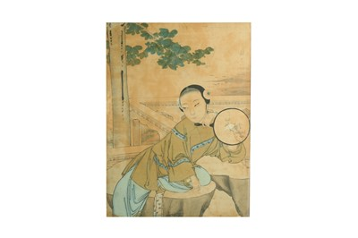 Lot 97-A CHINESE PAINTING OF A YOUNG WOMAN.