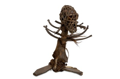 Lot 13-A 19TH CENTURY AFRICAN WITCH DOCTOR STAFF...