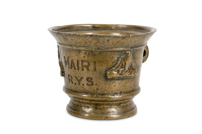 Lot 23-AN EARLY BRONZE MORTAR, LATER ENGRAVED  'MAIRI...
