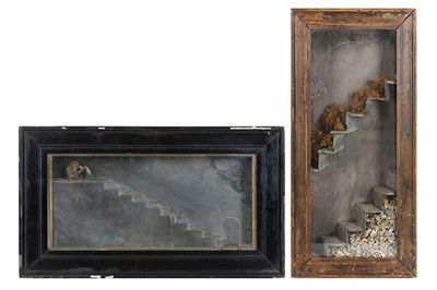 Lot 9-TWO GOTHIC STYLE SLATE AND BONE DIORAMAS the...