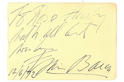 Lot 303-Bacon (Francis) Pale pink album page signed and...
