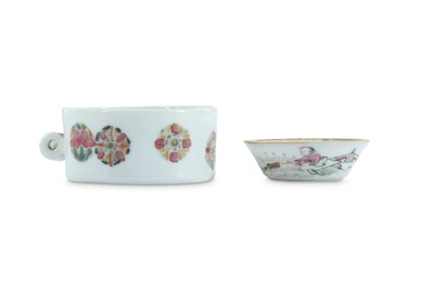 Lot 71-A CHINESE FAMILLE ROSE BIRD FEEDER AND A SMALL DISH.