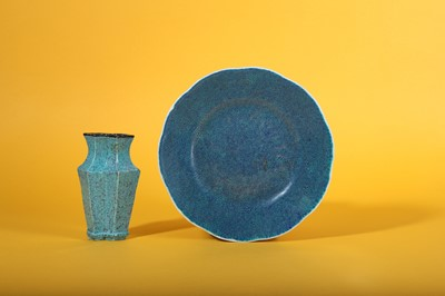 Lot 8-A CHINESE ROBIN'S EGG-GLAZED CONJOINED TOOL VASE AND A LOBED DISH.