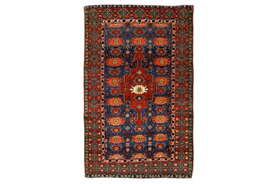 Lot 43-A VERY FINE ANTIQUE PART SILK SENNEH RUG, WEST...