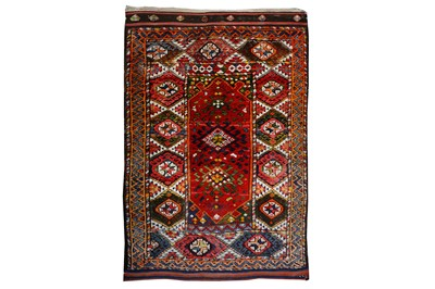 Lot 2-A FINE BERGAMA RUG, TURKEY approx: 4ft.7in. x 3ft....