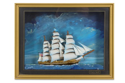 Lot 41-A 20TH CENTURY DIORAMA OF CUTTY SARK Framed and...
