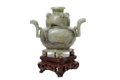 Lot 79 - A CHINESE PALE CELADON JADE INCENSE BURNER AND COVER.
