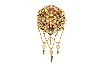 Lot 44-A late 19th century diamond and enamel brooch /...