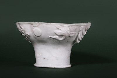 Lot 9-A LARGE CHINESE BLANC-DE-CHINE LIBATION CUP.