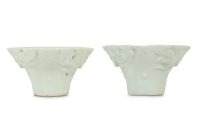 Lot 309 - A PAIR OF CHINESE MINIATURE BLANC-DE-CHINE LIBATION CUPS.