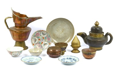 Lot 93-A collection of Tibetan metal ware and Chinese...