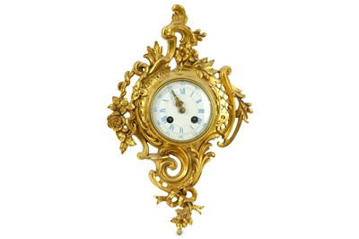 Lot 92-A 19th Century French gilt metal Cartel clock,...