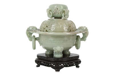 Lot 80 - A CHINESE PALE CELADON HARDSTONE INCENSE BURNER AND COVER.