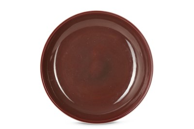 Lot 34 - A CHINESE COPPER RED-GLAZED DISH.
