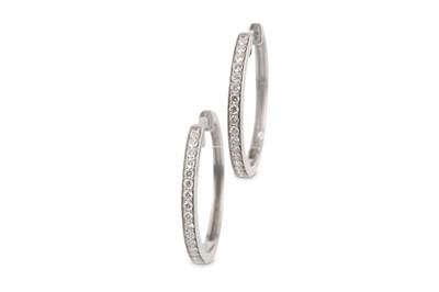 Lot 1-A pair of diamond earhoops