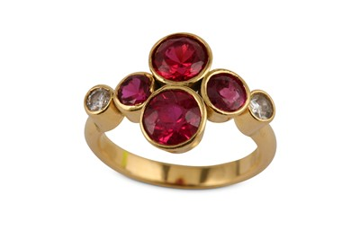 Lot 7-A synthetic pink sapphire ring