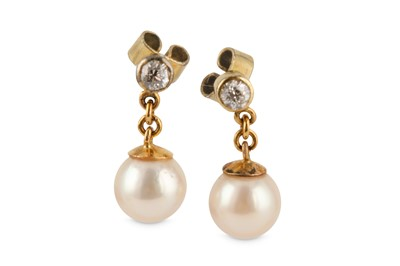 Lot 30-A pair of cultured pearl and diamond earrings