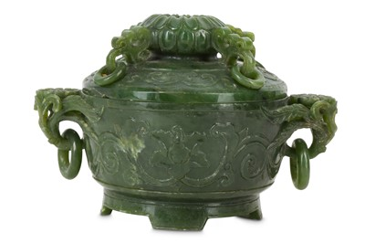 Lot 81 - A CHINESE SPINACH JADE 'BLOSSOMS' INCENSE BURNER AND COVER.