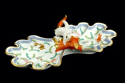 Lot 51-A 20th Century Herend Koi carp twin shell serving ...