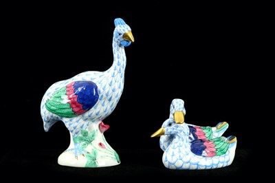 Lot 53-A group of two Herend porcelain birds each...