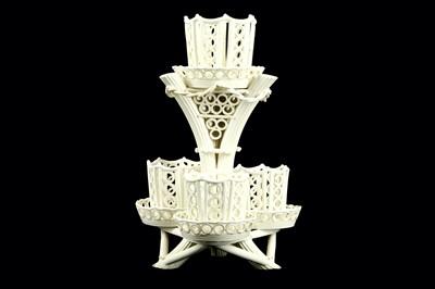 Lot 58-An 18th Century creamware table centrepiece,...