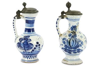 Lot 62-Two 18th Century German Hanau Fayence blue and...