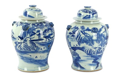 Lot 71-A pair of late 19th Century Chinese blue and...