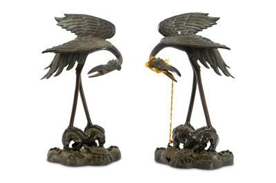 Lot 90-A pair of Meiji period Japanese bronze cranes,...