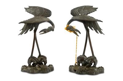 Lot 90-A pair of Meiji period Japanese bronze cranes,...