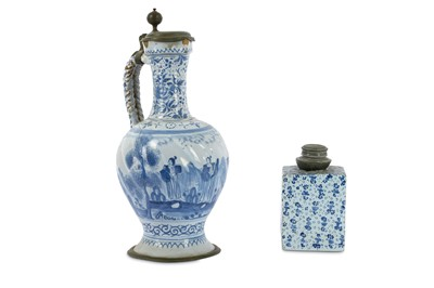 Lot 59-A Dutch delft tea caddy or canister of...