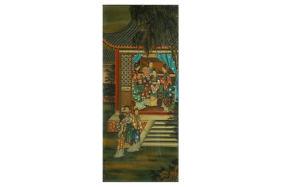 Lot 94-A CHINESE REVERSE GLASS PAINTING OF LADIES.