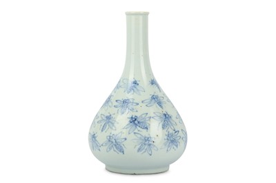 Lot 36-A KOREAN BLUE AND WHITE 'BEES' BOTTLE VASE....