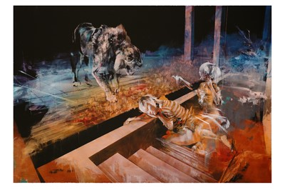 Lot 63-Ian Francis (British, b.1979), 'Two People Feed A Lion'