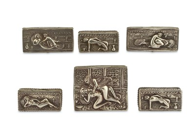 Lot 1015-Silver Repousse Lidded Boxes with Erotic Scenes